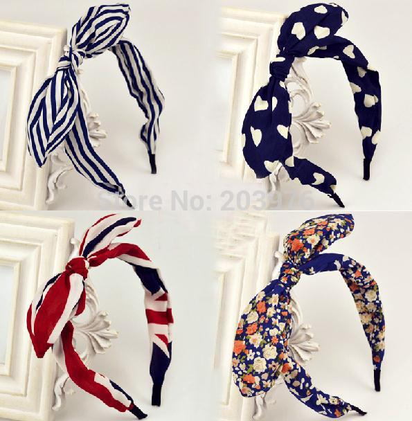 10pcs/lot wholesale price 2014 cute children teens girls headband young lady bunny ear headband fabric bow hair band many design(China (Mainland))