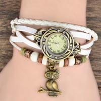 2014 New Fashion Women's Vintage Bronze Owl Pendant Weave Wrap Synthetic Leather Bracelet Wrist Watch 7 Colors