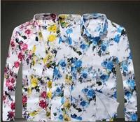 2014 Autumn Men High quality flower Style slim Fit shirt Men's Fashionable shirts Plus size 5XL 4XL 3XL 2XL XL L Cotton Shirt