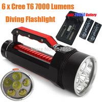7000 Lumens 6xCree T6  Waterproof Diving  Flashlight 6T6 Handlamp Torch + 26650 Battery & Charger Magic Control FREE Shipping