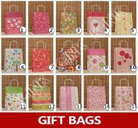 15 color for chosen , lovely flower kraft gift bag as birthday gift package , floral colorful kraft paper roasting bag
