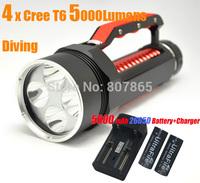5000 Lumens 4xCree T6  Waterproof Diving  Flashlight 4T6 Handlamp Torch + 26650 Battery & Charger Magic Control FREE Shipping