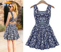 2014 New Europe Fashion Womens Stress Dress Sexy Bowknot Backless Vest Dress Lady's Elegant Slim Casual Floral Dress