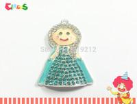 Newest ! 10pcs/lot  Blue Snow Princess Rhinestone Pendants