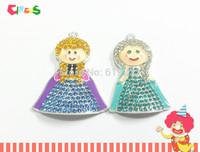 Newest ! 10pcs/lot   (5pcs each )Two Little Girl  Snow Princess Rhinestone Pendants For Chunky Kids Jewelry Making