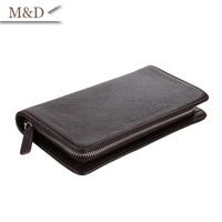 Hot Sale Fashion Genuine Leather Men Clutch Wallet Clutch Bag Long Size Men Wallets Zipper Card Holder