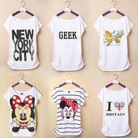 New 2014 Woman T shirt Summer Short Sleeve Cotton Cartoon O-neck Tops Tee Flag Shirts Butterfly Print