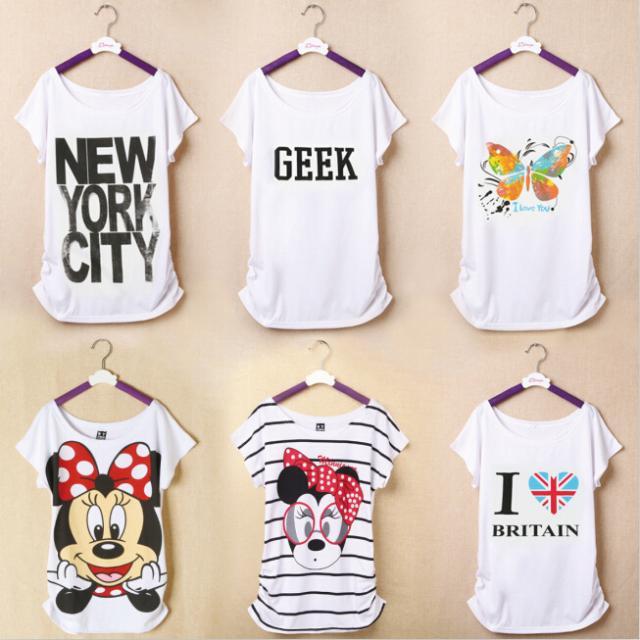 New Woman T shirt Summer Short Sleeve Cotton Cartoon O-neck Tops Tee Flag Shirts Butterfly Print(China (Mainland))