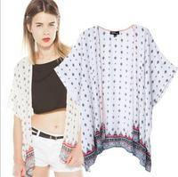 [B-1264] 2014 summer new women cardigan shawl retro national wind cotton kimono-style jacket printing bat sleeve shirt