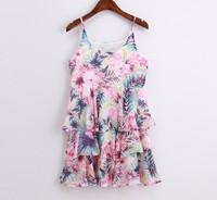 Vestidos 2014 Brand Design Vintage Europe Style Flower Floral Print Layer Ruffle Chiffon Dress Women Tank Dress Beach Dresses