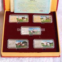 50g Chinise Rare Steppes Mongolia Sheep 5pcs/set Silver Bar with box