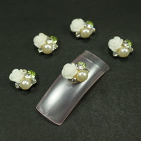 20pcs/lot 9X10MM Green Clear Rhinestones Ivory Faux Pearl Beads White Resin Rose Flower Silver Tone Alloy 3D Nail Art Decoration