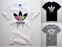 2014 Fashion men elegant shirt with short sleeves t-shirt adida uneven brand men o-neck t shirt men brand AD001