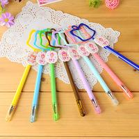 24pcs/lot New Office School Supplies Peach Design Plastic Black Ink Gel Pen 0.38mm Wholesale