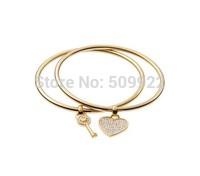 B4 2014 New Design Hot Brand Women Jewelry Love Heart Key Charm Bracelets & Bangles Luxury Kors Girl Bracelets Jewelry