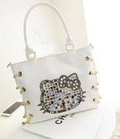 Free shipping 2014 hot Super lovely series fashion PU handbag Hello Kitty series Diamond hand bag ladies shoulder bag
