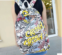 HOT-selling Free shipping School Bag Backpack Cartoons graffiti school backpack