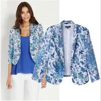 [B-1267]  Free shipping 2014 Hitz flower blazer women Slim retro print blouses suit jacket sleeve