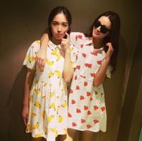 Plus Size Vestidos 2014 Harajuku Girls banana watermelon print Casual Dresses Oversized Novelty T Shirt Dress Junior Clothing
