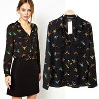 [B-1229] Free shipping 2014 summer new women's chiffon blouse female  birds pattern turn-down collar  bouses