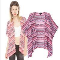 [B-1262] Free shipping 2014 summer new Women's cardigan shawl national wind printing cotton kimono