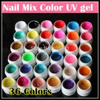 Hot sale! Wholesale price New 36 Colors Nail art UV Glitter Powder Gel UV GEL Shimmer Colorful Nail Gel 5g/bottle, Free shipping
