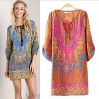 New 2014 summer dress vintage women Baroque postion print dress short sleeve loose vestidos european brand dresses