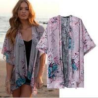 [B-1213]  2014 Summer new women's casual  chiffon kimono jacket  flower pattern jackets  free shipping
