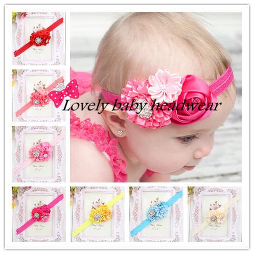 Trail Orders 10PCS/LOT Infant Toddlers Baby Headbands Baby Girls Flower Headband Rhinestone Kids Hair Accessories(China (Mainland))