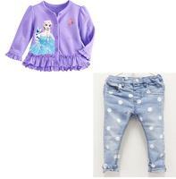2014 new arrive children girls purple long sleeves top+jeans 2pcs set children cloth kids summer 2 pcs set children clothing set