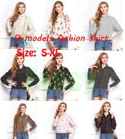 9 Models S-XL,2014 New Women Hot Sale High Street Elegant Lip Print Chiffon Blouse Long Sleeve Shirt
