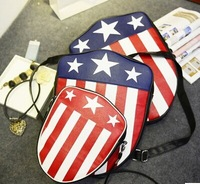 2014New arrival mochilas Hip-hop American flag pattern backpack shield design casual travel bag