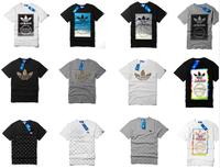 many style 2014 Fashion men elegant shirt with short sleeves t-shirt adida uneven brand men o-neck t shirt men brand AD003
