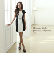 Fashion plus size 2014 short-sleeve knitted one-piece dress slim black and white one-piece dress patchwork
