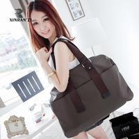 Female big measurement waterproof bag polyester bag solid color simple paragraph shoulder bag messenger bag handbag women's