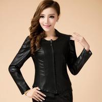 Free shipping Genuine leather  women's high collar sheep skin jacket short paragraph