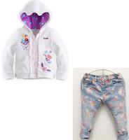 2014 new arrive children girls jacket+flower jeans high quality  2pcs set children cloth kids autumn wear children clothing set