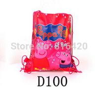 1 pc Lovely Pig  Printing Cartoon Backpacks Drawstring Bag Shoulder Bag For Kids Gift kids school bag