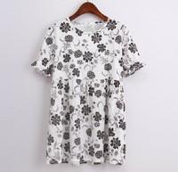 Plus Size Vestidos 2014 Europe Vintage Floral Print Ruffle Loose Casual Doll Dresses Oversized T Shirt Sun Dress Junior Clothing