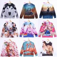 [Magic] beautiful ! 2014 newest thin hoodies both side printed Animal/ladies sweatshirts women fashion sweatshirt free shipping