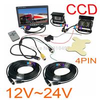 "2 x 24V IR Waterproof CCD Reverse parking Camera 4Pin + 7"" LCD Monitor Caravan Rear View Kit Free 2x 10m video cable"