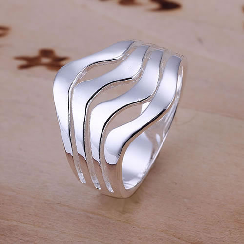 R123 Size 8 Wholesale 925 silver classic ring 925 silver fashion jewelry Water Waves classic