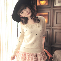 Women's sweater cardigan pullovers 2014 autumn round neck long-sleeved sequined knit mohair embroidered dots sweater WF-054
