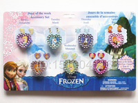 Free Shipping Girls Frozen Anne Elsa (70pcs Rings&140pcs sticker Earrings) fashion jewelry for parrty