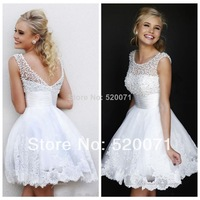 Charming New A Line Jewel Collar Sleeveless White Applique Pearls Formal Party Homecoming Dress 2014 Short Mini Prom Dresses