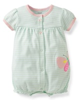 wholesale Original carter's baby girl short sleeve striped snap up creeper, rompers,100%cotton,5pcs/lot,free shipping