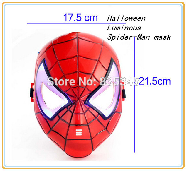 Free Shipping American Superhero Spider-Man Toys Spider-Man mask glow Flash Children mask Halloween Carnival Mask(China (Mainland))