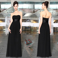 9955 2014 New Arrival Concise and Easy Strapless Ruched Bust Black Chiffon Long Evening Dress