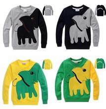 New Christmas Children Autumn Elephant tops shirts boys girls long sleeved hoodies sweatshirts kids 2-7 year jacket clothing(China (Mainland))