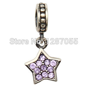2015 Fashion 925 Sterling Silver five-pointed star pendants for women fit bracelets & Necklaces Charms Crystal beads(China (Mainland))
